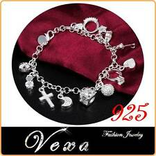 New 925 Sterling Silver Bracelet Crystal Charms Zircon Bangle Ladies Womens BS03