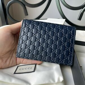 New Gucci Micro GG Guccissima Navy Card Case Small Wallet Unisex