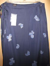 NEW $49.50 wTags- EXPRESS Womens Long wrap skirt- floral blue navy S M 6 8 10