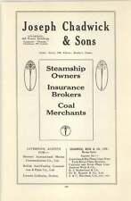 1916 Wilson Line Hull Glen Line Joseph Chadwick Brokers Ad
