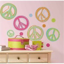 RoomMates Rmk1437Scs Glitter Peace Signs Peel & Stick 26 wall Decals Girls