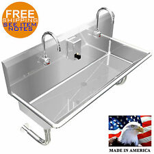 "HAND SINK 2 STATION 40"" WASH UP SINK HANDS FREE 304 STAINLESS STEEL WALL MOUNT"