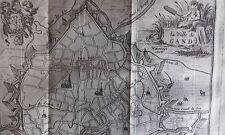 Plan de la Ville de GAND HARREWYN GRAVURE originale DELICES des PAYS BAS 1711