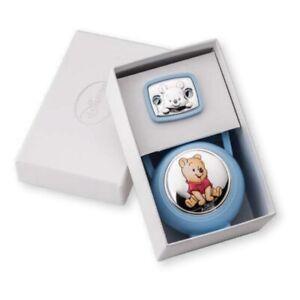 Disney Winnie The Pooh Set Box e Spilla Porta Ciuccio con Catena Azzurro