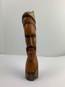 """VINTAGE 15"""" HAND CARVED WOOD MALE FACE TREE SPIRIT Uniquely Detailed"""
