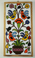 Vintage Art Tile Wall Hanging Mid Century Handpainted Birds