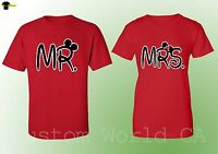 New Mr & Mrs his Hers Husband and Wife Couple Matching Shirts (Red)