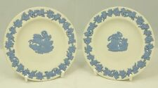 Wedgwood two small Greek themed Jasperware dishes in blue on white