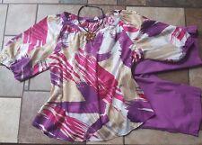 women's clothing lot outfit size 14 capri, xl blouse, necklace, EUC