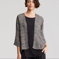 NWT Eileen Fisher Linen Gauze Strata Kimono Jacket in Gray - size M #T896