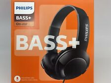 PHILIPS BASS+ SHL3075, On-ear Headphones w/ Microphone - Black - Corded