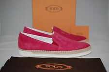 NIB TOD'S Deep Pink Suede Leather Slip-On Sneakers Rubber Sole Shoes 9 US /39 EU