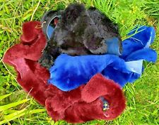 Sheepskin scraps black crafting soft wool, natural off cuts Mixed color Merino