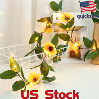 2M 30LEDs Sun Flower Leaves Vine LED String Light Home Hanging Garland Decor US