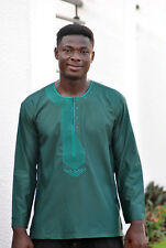 Embroidered Green Men's Long Sleeve Shirt Ankara African Clothing Fashion Wear