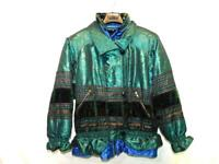 Vintage 80s J. Gallery M Green Blue Floral Coat Velvet Silver Stripe Winter Zip