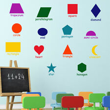 14 LEARNING SHAPES Square Circle Girls Boys Bedroom Nursery Wall Art Sticker