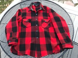 vtg 60s 70s Pendleton Red Black 100/% Wool Flannel Shirt Button Down sz M 15