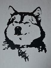 15CM ALASKAN MALAMUTE FACE HEAD SILHOUETTE STICKER DECAL SLED DOG DOGS BLACK
