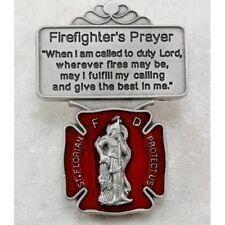 St Florian Fire Department Protection Firefighter's Prayer Red Enamel Visor Clip