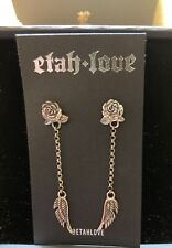 Clocks and Colours Sterling Silver Earrings New Rose and Angel Wings Etah Love
