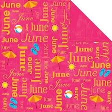 Scrapbook Paper 25p June Calendar Flip Flop Beach Ball Sun Summer Vacation 2sd