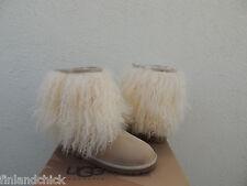 UGG RARE SAND LONG MONGOLIAN SHEEPSKIN CUFF BOOTS, WOMENS US 11/ EUR 42 ~ NIB
