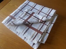 VINTAGE 1970's RETRO BATH BEACH TOWEL - BROWN CHECKED - NEW OLD STOCK   ref 7