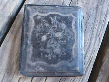 Vintage small leather Picture frame with brass hinges, plush velvety inside