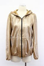 NWT $6995 Brunello Cucinelli Metallic Gold Leather Hooded Bomber Jacket 42 A176