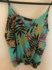 Honey Punch Tropical Top Turqoise With Humming Biirds Size Medium String Sleeves