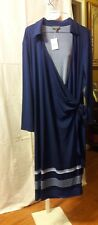 THE LIMITED Plus Size Jersey Knit Blue Wrap Dress Size 2X