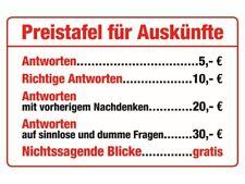 Preistafel für Auskünfte quer Blechschild 20 x 30 cm  PC 300/461