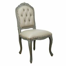 Antiqued French Style Wooden Studded Upholstered Dining Chair Faux Leather