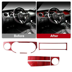Red Carbon Fiber Interior Dashboard Cover Trim Fit For Ford Mustang 2009-2013