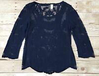 Divided H&M Women's 4 Sheer Navy Blue Long Sleeve Mesh Lace Top Shirt