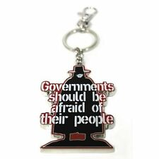 V for Vendetta Governments Should Be Afraid of Their People Quote Metal Keyring