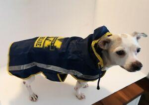 New University Of Michigan Go Blue College Pet Dog Reflective Rain Coat Size M