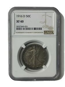 1916-D Walking Liberty Silver 50C Key 1st Year Date US Coin NGC XF 40