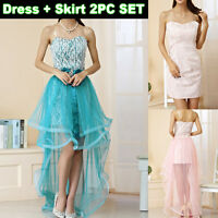 Evening Gown Formal Wedding Cocktail Prom 2pc Dress US Size 6 8 10 12 14 16 3589