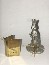 Rare Pewter Classic Winnie the Pooh Rabbit Figurine, Happy Birthday Book/Card