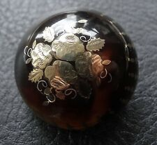 antique Victorian pique work GOLD rose flower & shell domed brooch c pin  -C111