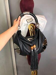 Gucci Indy Hobo Shoulder Bag Bamboo Tassel Black Leather Babouska Handbag 177139