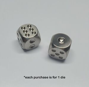 Solid titanium TI EDC Dice Die for Games Polished // Rounded Type