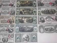 RARE HISTROIC STUNNING 7 1875 UNC U.S. BANKNOTE SET COPY!