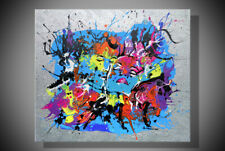 Abstraction large modern colorful painted picture girl kiss hand-painted silver