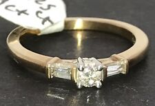 9ct gold diamond 3 stone ring, briliant & two baguettes, new, size N1/2, 1/4 ct.