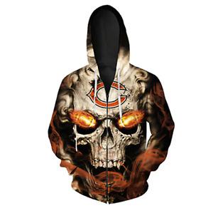 Men's Chicago Bears Zipper Black NFL 2020 Ghost Fleece Jacket Coat Sweatshirt