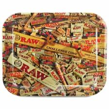 AUTHENTIC RAW ORIGINAL Cigarette Tobacco Metal LARGE Rolling Tray 14x11
