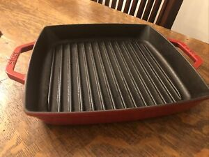 "Staub #28/11"" Red Square Double Handled Cast Iron Grill Pan"